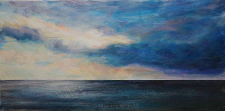 Wolken, Meer, Watt, Licht, Himmel, Malerei
