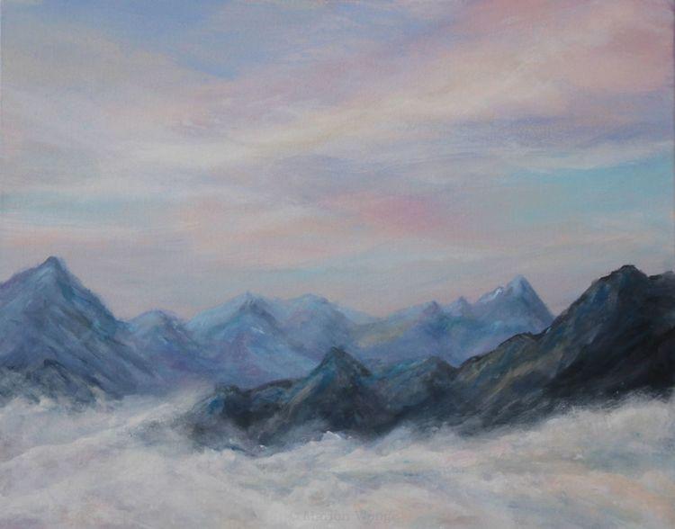 Wolken, Himmel, Berge, Malerei, Bergen
