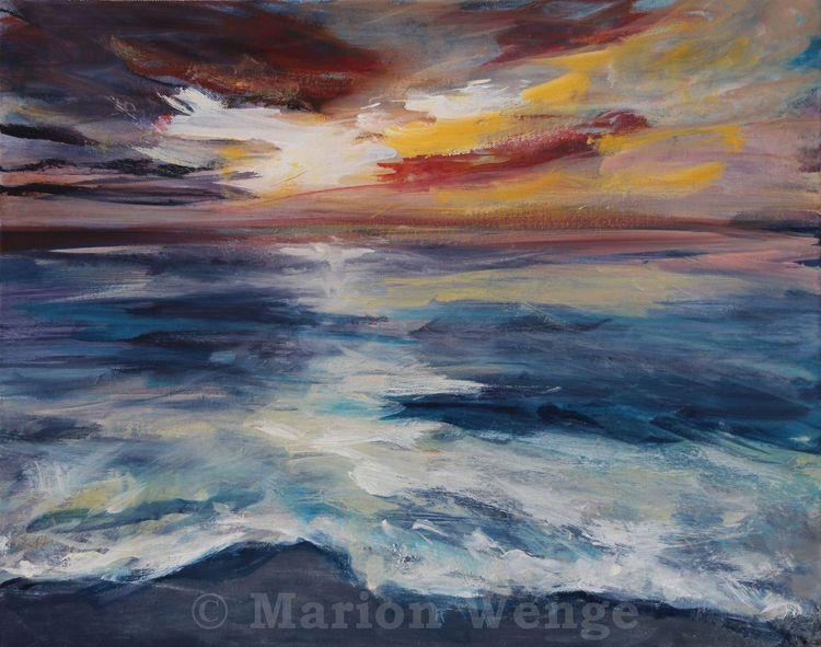 Meer, Wolken, Abend, Sonnenuntergang, Wasser, Malerei