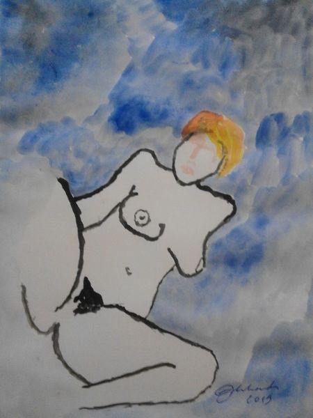 Akt, Frau, Farben, Tuschmalerei, Malerei