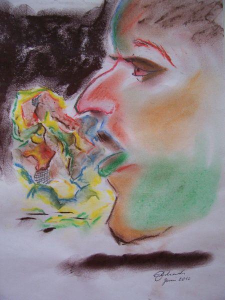 Portrait, Pastellmalerei, Abstrakt, Malerei