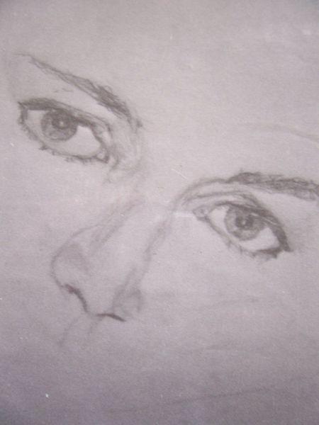 Portrait, Bleistiftzeichnung, Frau, Augen, Blick, Zeichnungen
