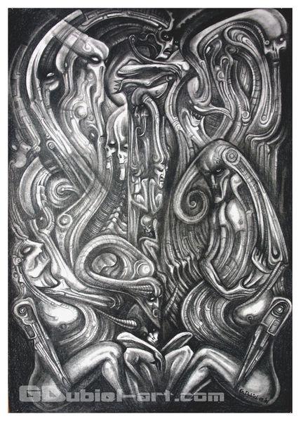 Surreal, Bleistiftzeichnung, Verfolgung, Hexe, Zeichnungen,