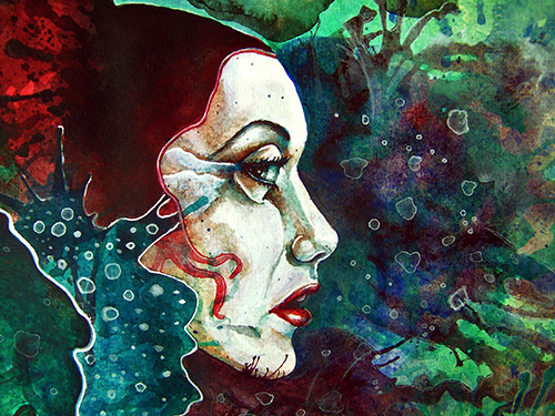 Wasser, Frau, Fantasie, Mischtechnik