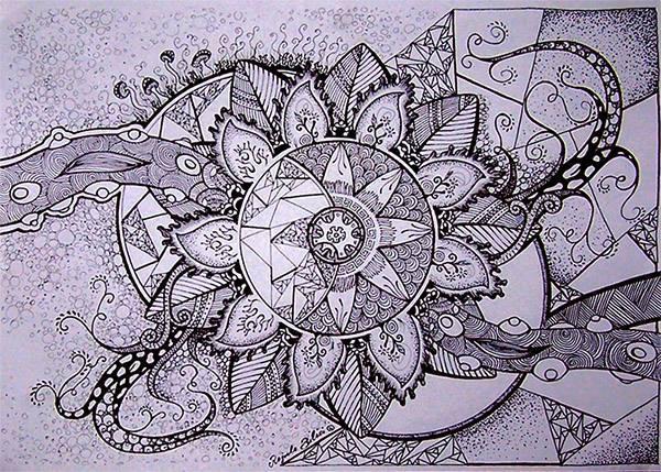 Blüte, Rund, Blumen, Mandala, Natur, Schwarzweiß