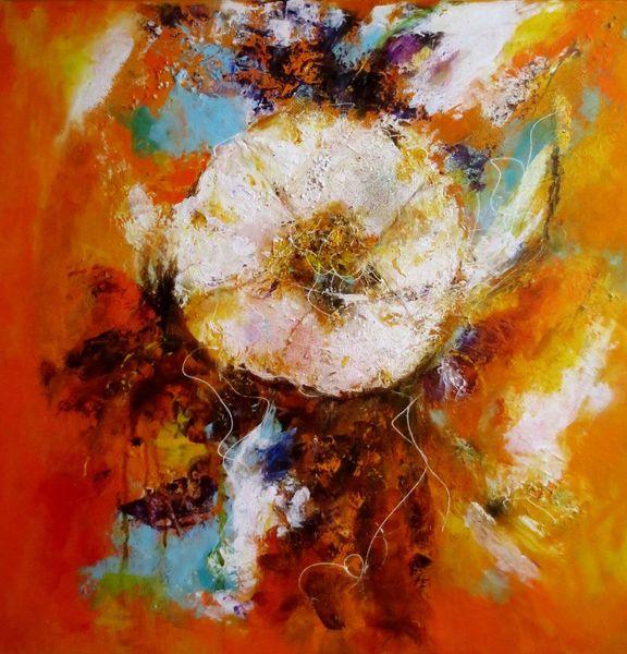 Blüte, Spachteltechnik, Traum, Fiori, Experimentell, Weiße blüte