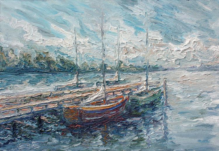 Bootsanleger, Wasser, See, Spiegelung, Boot, Malerei