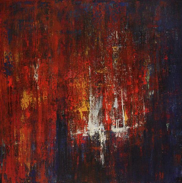 Gemälde, Abstrakt, Licht, Rot, Nacht, Blau