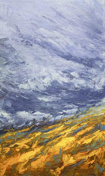 Gewitter, Wetter, Feld, Landschaft, Sturm, Malerei