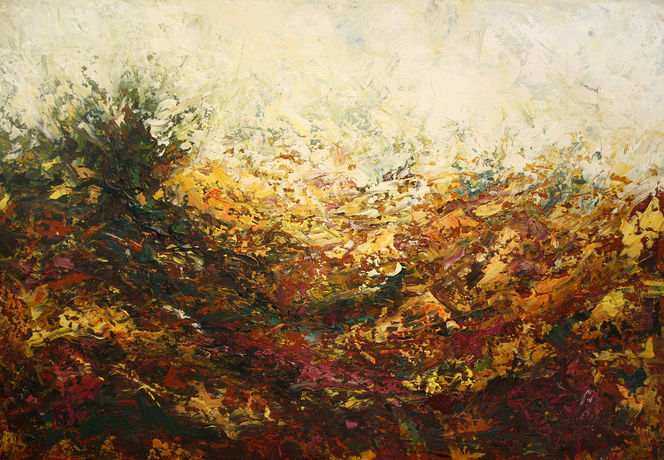 Gelb, Landschaft, Herbst, Acrylmalerei, Heide, Lüneburger heide