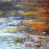 Stille Wasser - stille, wasser, teich, tümpel, spiegelung, herbst, abstrakt, gemälde, acryl