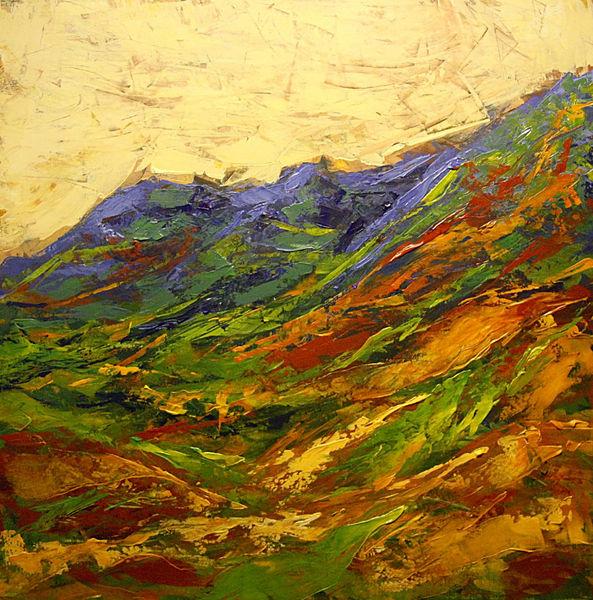 Hügel, Sommer, Landschaft, Berge, Sommerlandschaft, Malerei