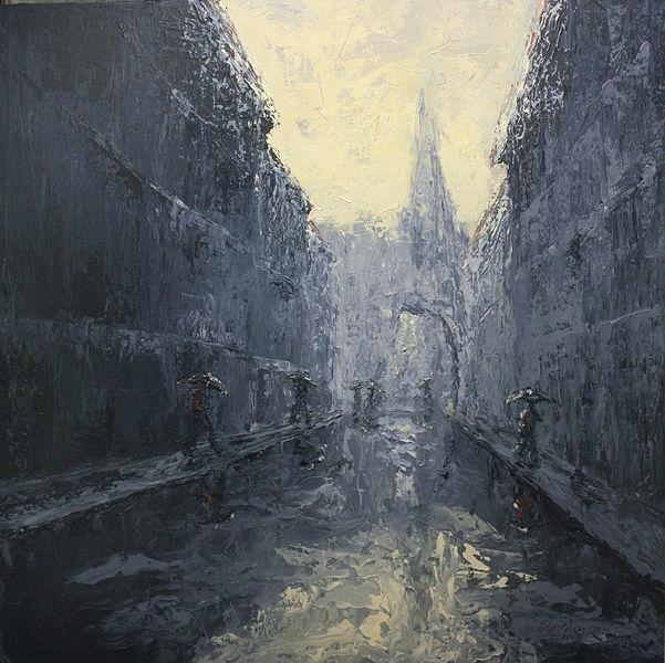 Regen, Spiegelung, Stadt, Gewitter, Malerei,