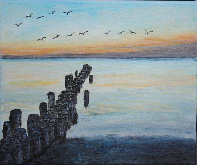 Strand, Abendstimmung, Meer, Natur, Malerei