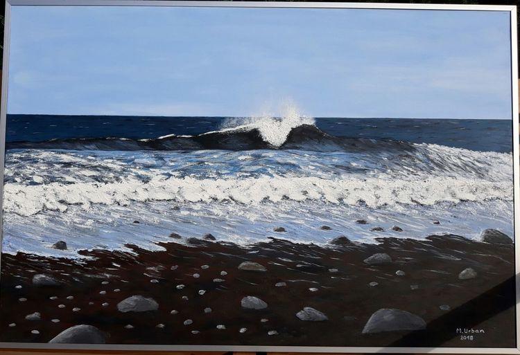 Meer, Brandung, Wasser, Welle, Strand, Malerei