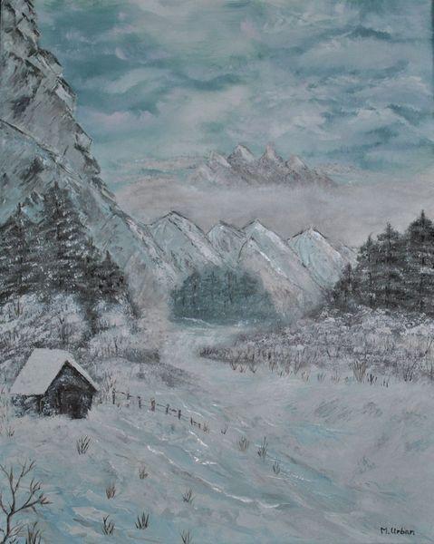 Landschaft, Bergen, Schnee, Hütte, Winterlandschaft, Malerei