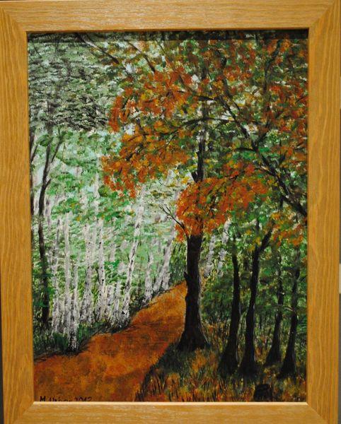 Wald, Natur, Landschaft, Herbstlaub, Malerei