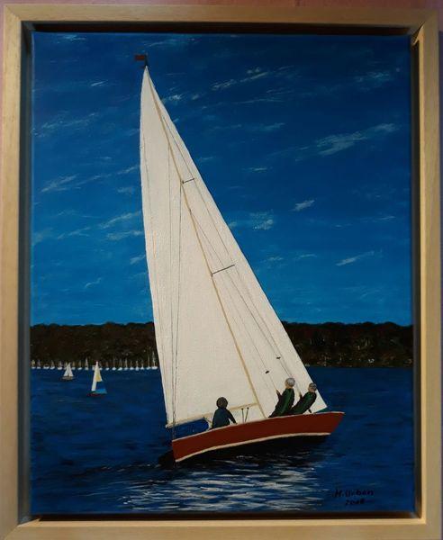 Segelboot, Wind, Wasser, Malerei