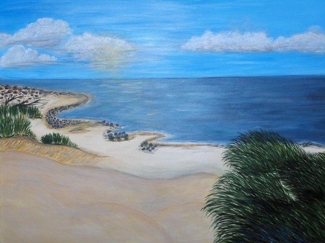 Strand, Meer, Dünen, Natur, Malerei, Urlaub