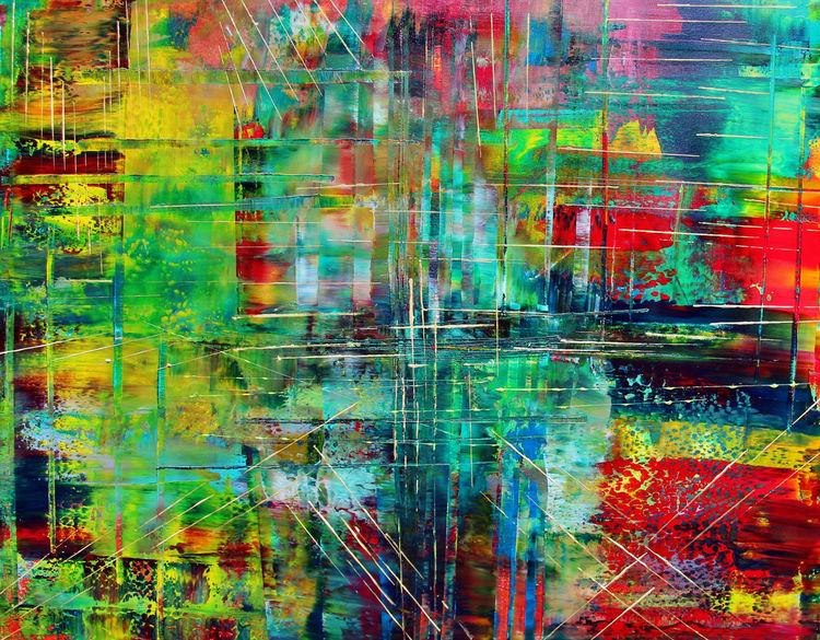 Abstrakt, Gerakelt, Bunt, Acapulco, Malerei
