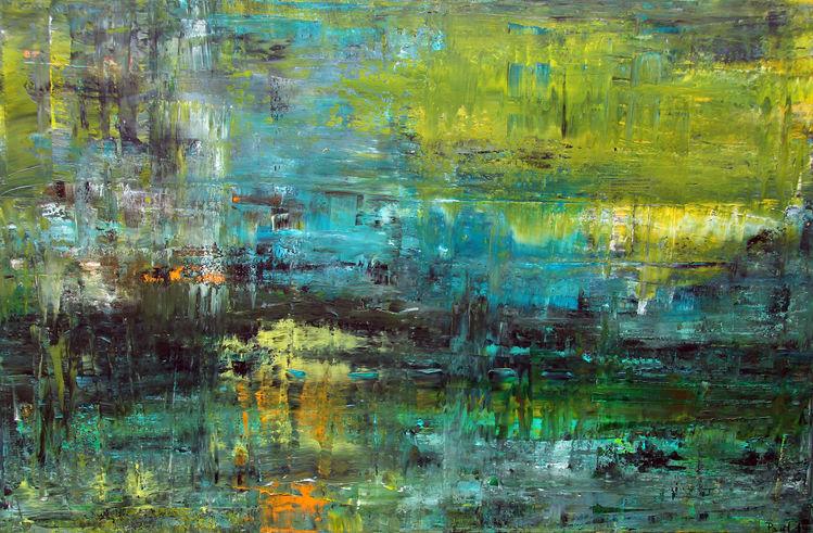 Abstrakt, Gras, Grün, Malerei,