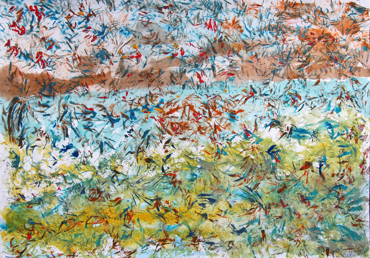 Abstrakt, Gouachemalerei, Vogel, Malerei,