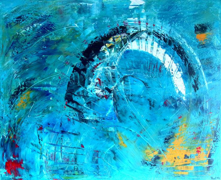 Spachteltechnik, Brücke, Normandie, Abstrakt, Malerei,