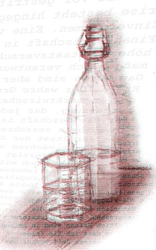 Frühling, Druckgrafik, Wasserflasche mit glas, Stillleben, Bleistiftzeichnung, Jahreszeiten