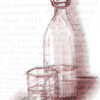 Jahreszeiten, Frühling, Wasserflasche mit glas, Stillleben
