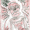 Maria magdalena, Druckgrafik, Linolschnitt, Rot schwarz