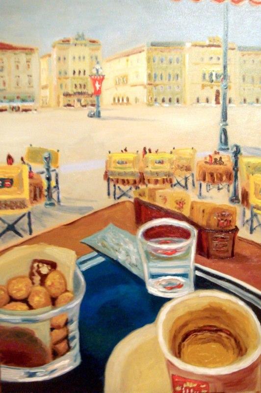 Stillebenestadtlandschaft caffe nero o espresso e caffe degli specchi a piazzaunita di trieste - Caffe degli specchi ...