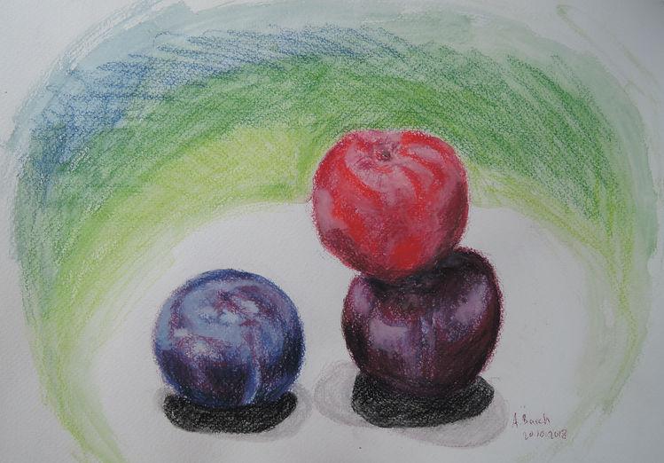 Pflaume, Violett, Rot, Stillleben, Blau, Zeichnungen