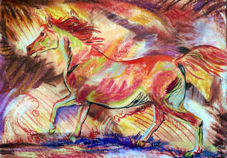 Galopp, Stute, Vollblut, Pferde, Arabisches vollblut, Zeichnungen