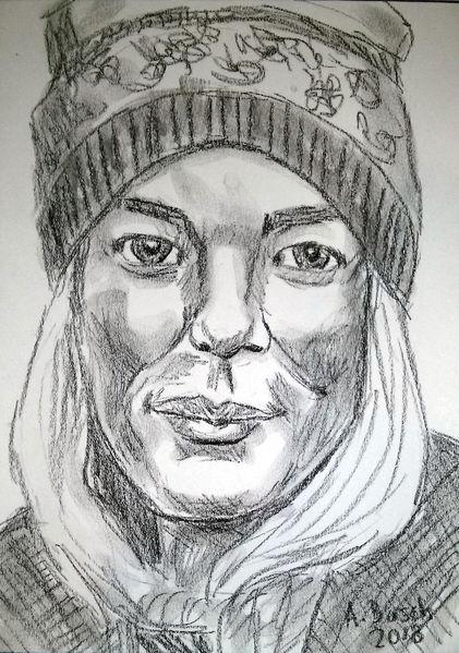 Mädchen, Portrait, Mütze, Blond, Zeichnungen