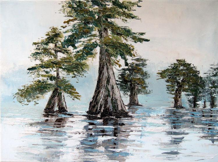 Wasser, Dunst, Baum, Spachtel, Sumpf, Zypressen