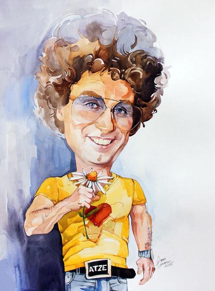 Karikatur, Portrait, Aquarell