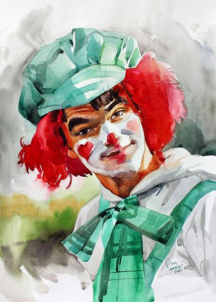 Seele, Portrait, Menschen, Zirkus, Junge, Clown