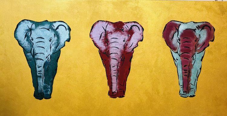 Bunt, Tiere, Gruppe, Malerei