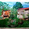 Baum, Gartenhauslisa, Pflanzen, Aquarellmalerei