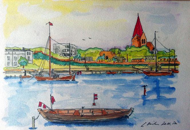 Aquarellmalerei, Ostsee, Natur, See, Boot, Malerei
