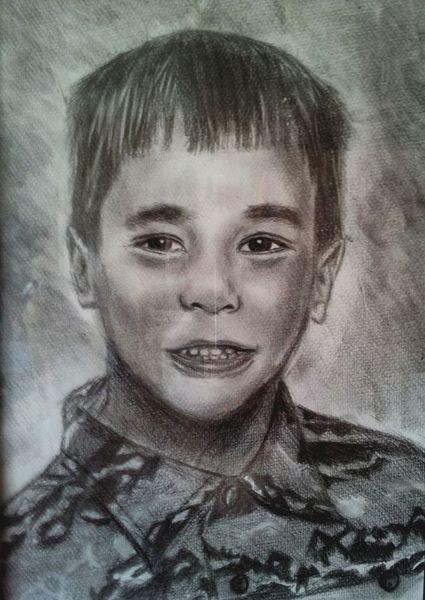 Kind, Bleistiftzeichnung, Selbstportrait, Zeichnungen