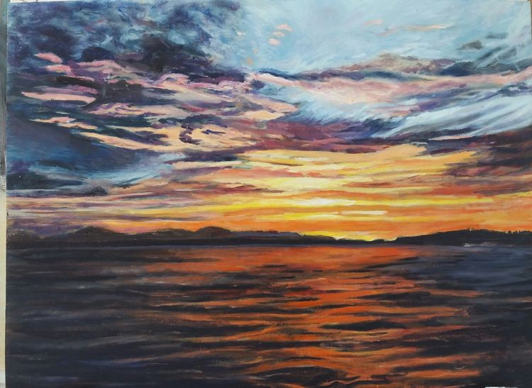 Sonnenuntergang, Meer, Küste, Stimmungsvoll, Wasser, Malerei