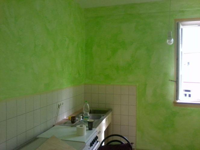 Wandgestaltung, Gestaltung, Grün, Lasurtechnik, Küche