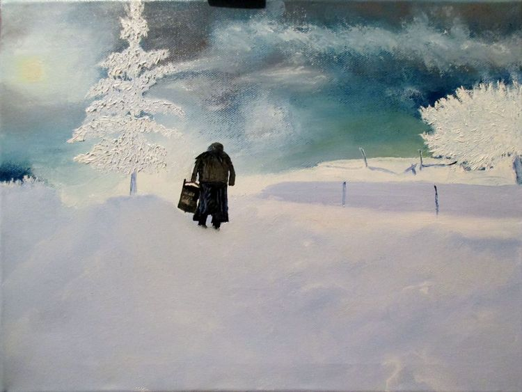 Winter, Landschaft, Schnee, Alte frau, Frost, Malerei