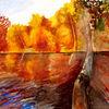 Landschaft, Herbst, See, Wasser