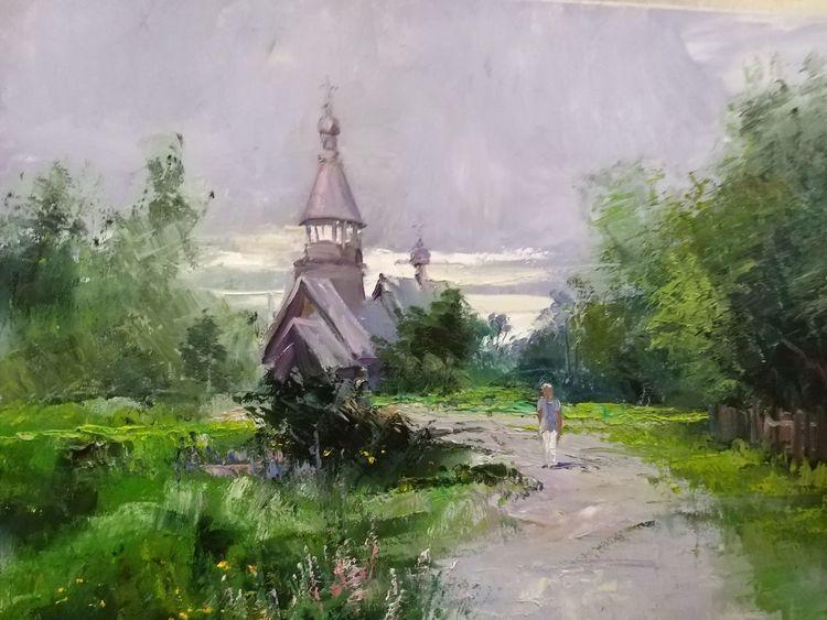 Dorf, Kirche, Russland, Sommer, Malerei