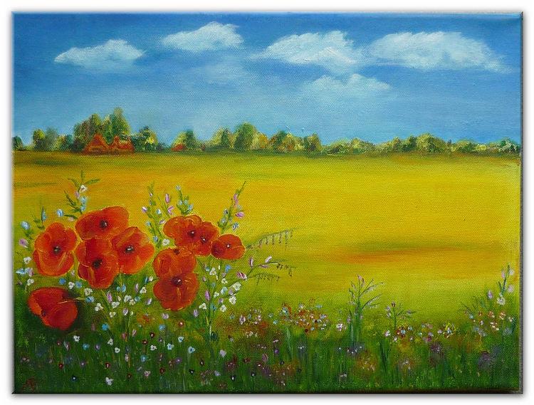 Feldblumen, Mohnblüten, Häuser, Ölmalerei, Rot, Malerei