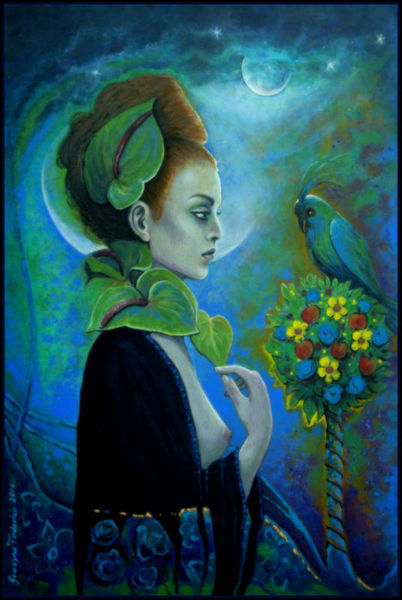 Vogel, Acrylmalerei, Midsummer, Frau, Blumen, Malerei
