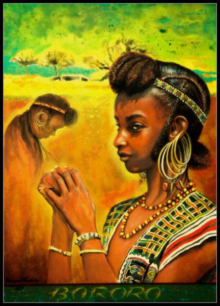 Acrylmalerei, Portrait, Tradition, Stolz, Afrika, Menschen