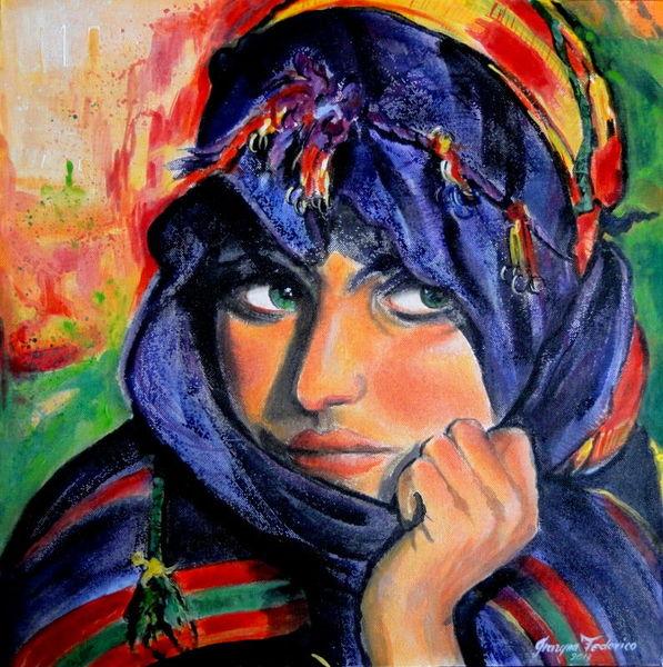 Acrylmalerei, Portrait, Tradition, Frau, Reise, Farben